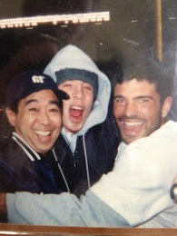 These are the two fans i befriended for game 3 of the 2001 World Series in Yankee Stadium. Jeter hits a walk off homer in the 10th.