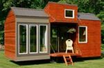 This is tiny house that is 21' by 8.5' in size with a fairly tall ceiling.