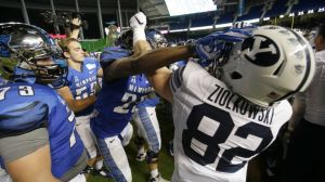 BYU and Memphis cleared their benches and brawled after BYU lost to Memphis in the Miami Bowl. (Fair Use Photo By - AP)