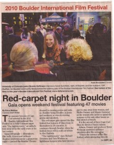 BCM reporter Bonnie Hoffman on the BIFF red carpet in front of the Boulder Theater the