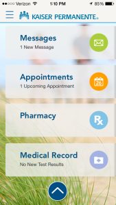 The Kaiser Permanente smartphone app is very handy for keeping track of my health.