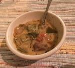 My first batch of green chili turned out, thanks to the readily available fresh veggies.